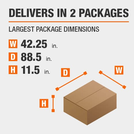 Delivers in 2 Packages with the Largest Package Dimensions of 42.25 inches wide, 88.5 inches deep, 11.5 inches high.