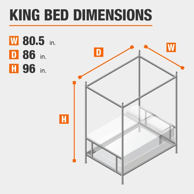King Bed Dimensions of 80.5 inches wide, 86 inches deep, 96 inches high.