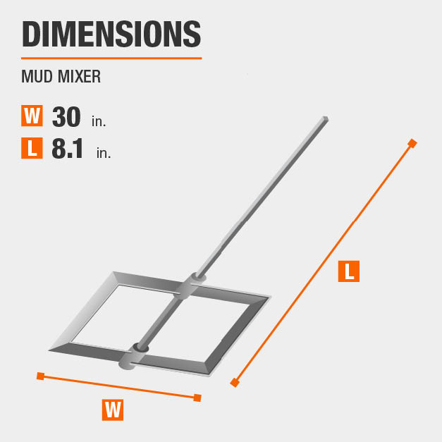 Mud Mixer Drywall Tool Dimensions