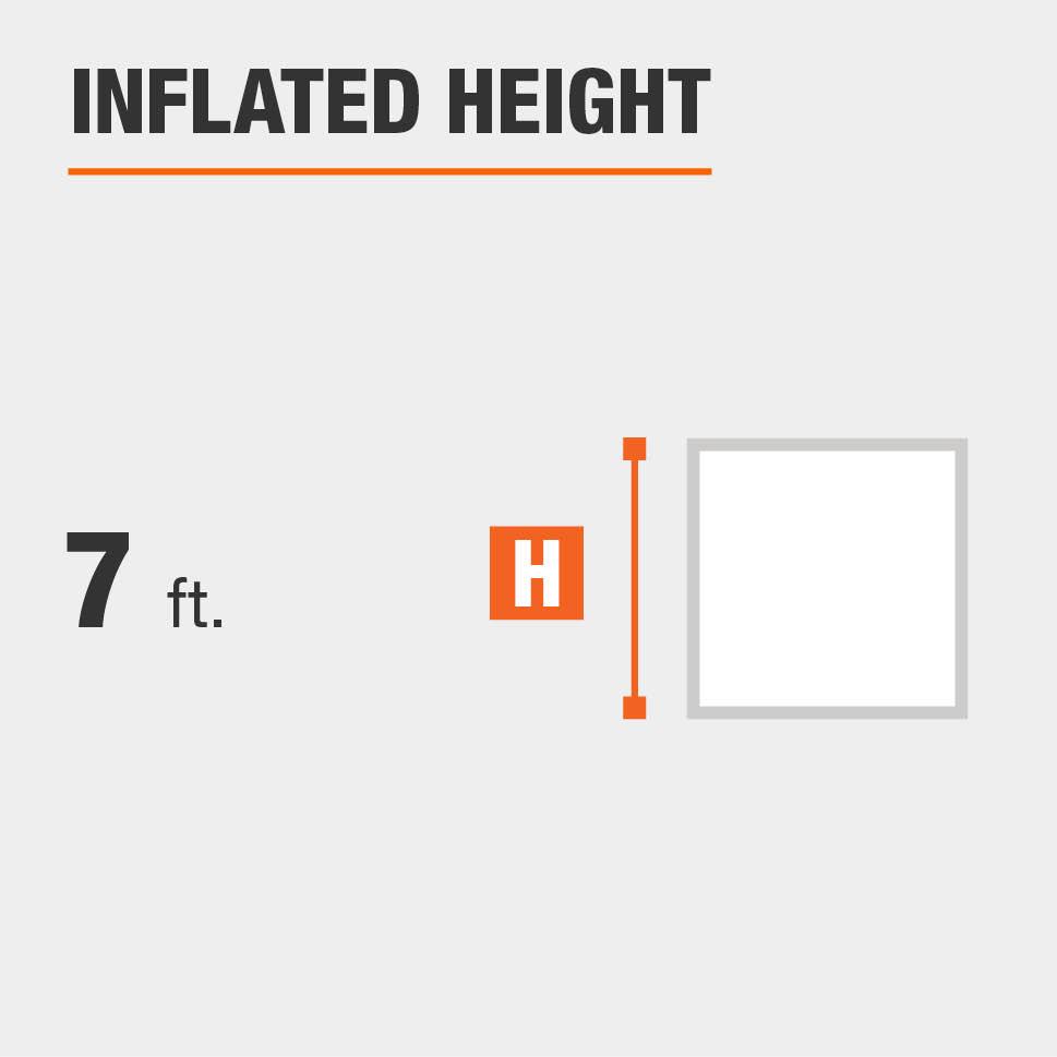 Inflated height is 7 feet