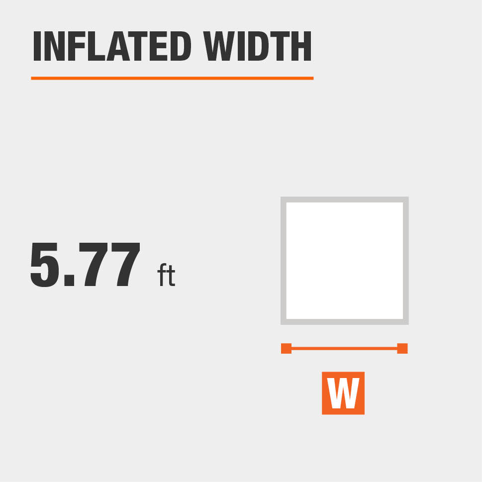 Inflated width is 5.77 feet