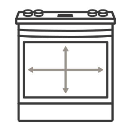 An icon of the front of the oven.Arrows over the cavity measure the width and height of the interior capacity.
