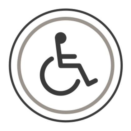 An icon of the international symbol of access. A stylized person sits in a wheelchair.