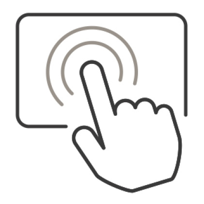 An icon of a finger tapping the surface of the control panel.