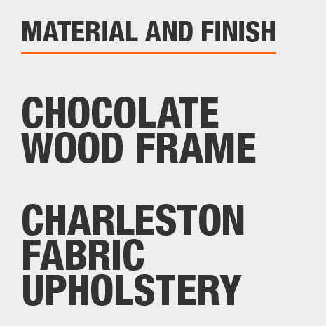 Upholstered Dining Bench has a Chocolate Wood Frame with Charleston Fabric Upholstery