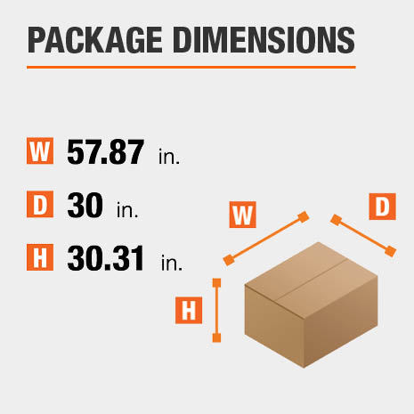 Shipment package is 57.87 inches wide, 30 inches deep, and 30.31 inches high