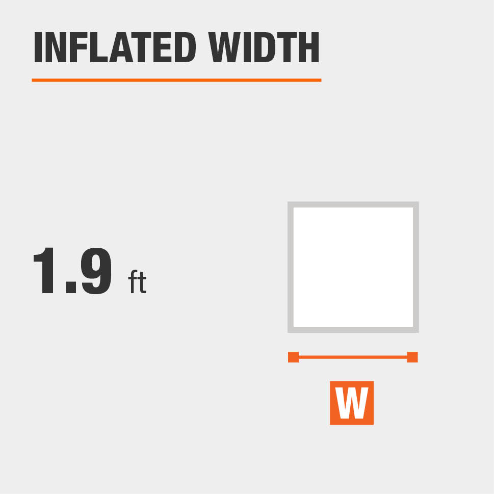 Inflated width is 1.9 feet