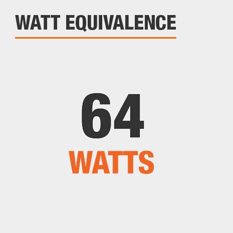 This light has a watt equivalence of 64 watts.