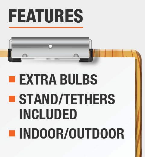 This product includes extra bulbs, stand/tethers and is recommended for use indoor and outdoor