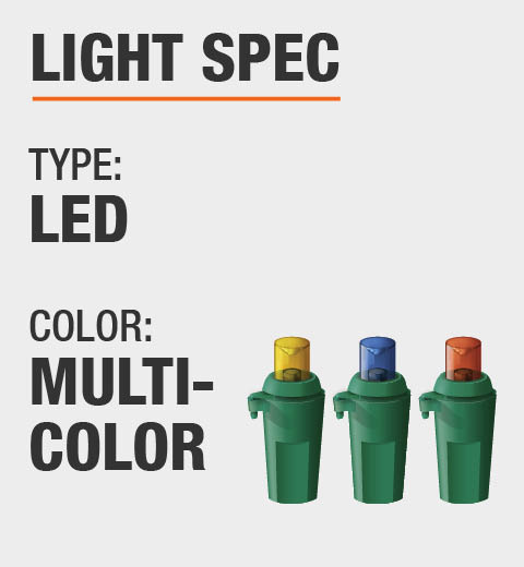 The light type is LED and it is multi color