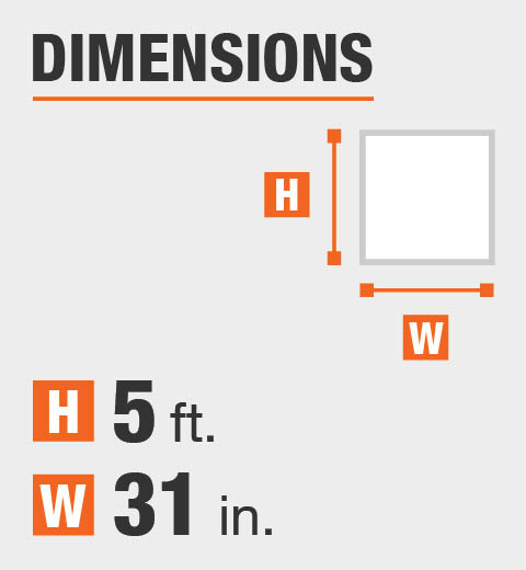 The dimensions are 5 in. Height and 31 in. width