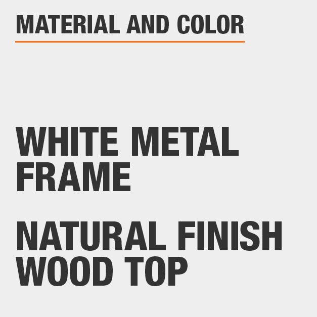 Natural Finish Wood Top White Metal Frame Rectangular Dining Table