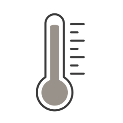 An icon of a thermometer measuring the high temperatures of cooking food