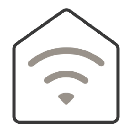 An icon of a home. Waves inside of it depict the Wifi's signal