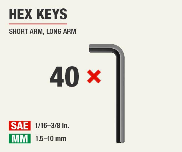 Set includes 40 hex keys