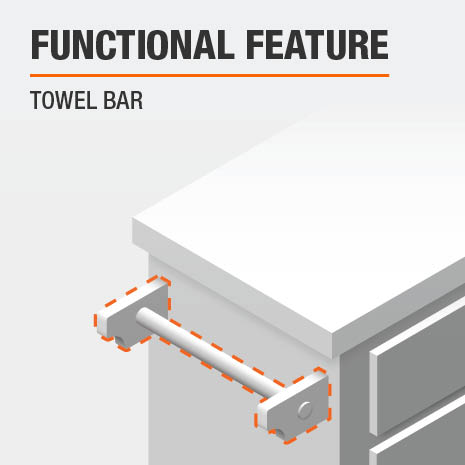 A functional feature of this Kitchen Cart is a Towel Bar