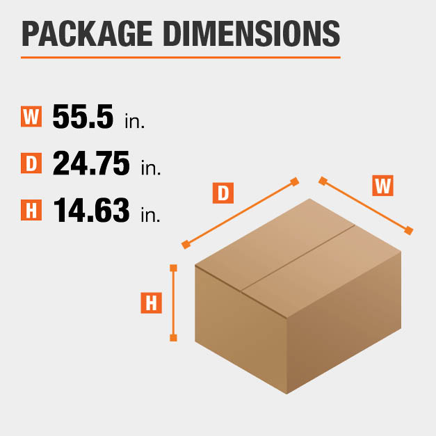 Shipment package is 55.5 inches wide, 24.75 inches deep, and 14.63 inches high