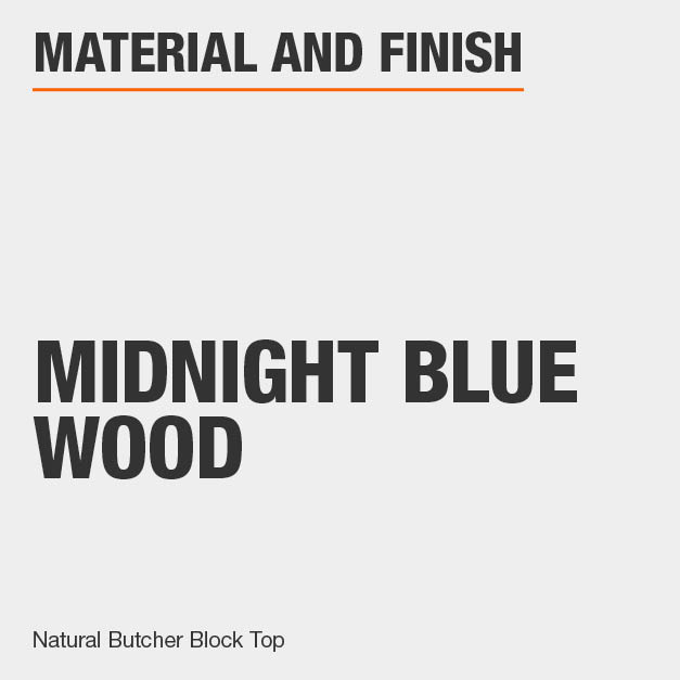 Kitchen Cart is made of Midnight Blue Wood includes a Natural Butcher Block Top