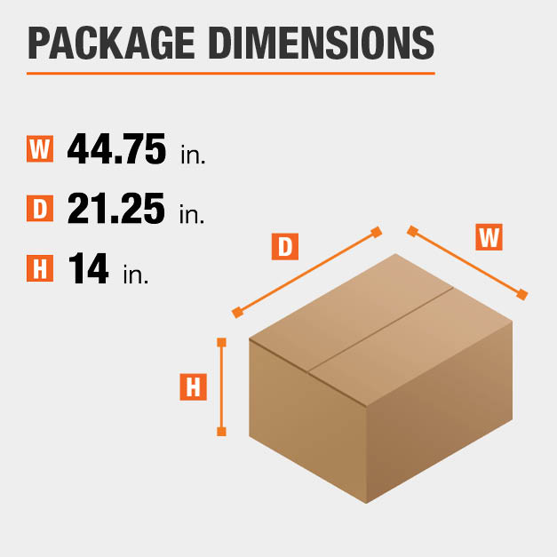 Shipment package is 44.75 inches wide, 21.25 inches deep, and 14 inches high