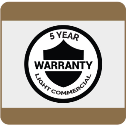 5-Year Light Commercial Warranty details available