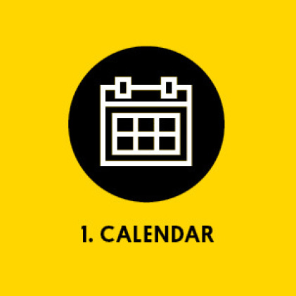 Graphic of calendar with title: 1. Calendar
