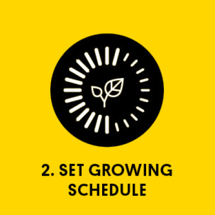 Graphic of a timer with title: 2. Set Growing Schedule