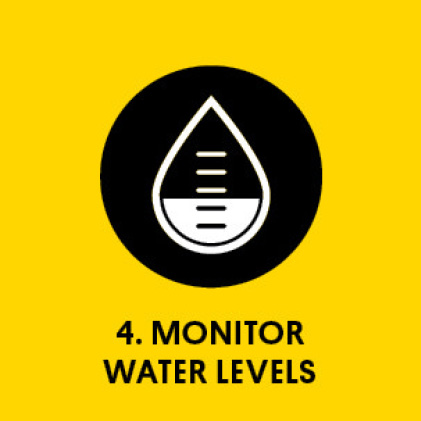 Graphic of water droplet with measuring level marks and level at middle with title: Monitor water levels