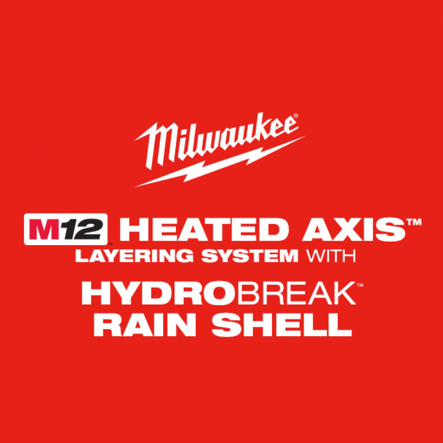 M12 Heated AXIS Layering System with HYDROBREAK Rain Shell protects you from the harshest rain and snow conditions