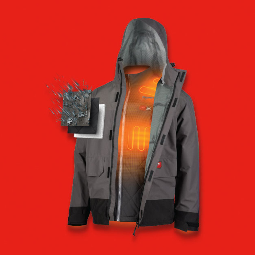 Paired with M12 Heat On Demand, the optimal insulation in both the jacket and shell provide you with ultimate coverage.