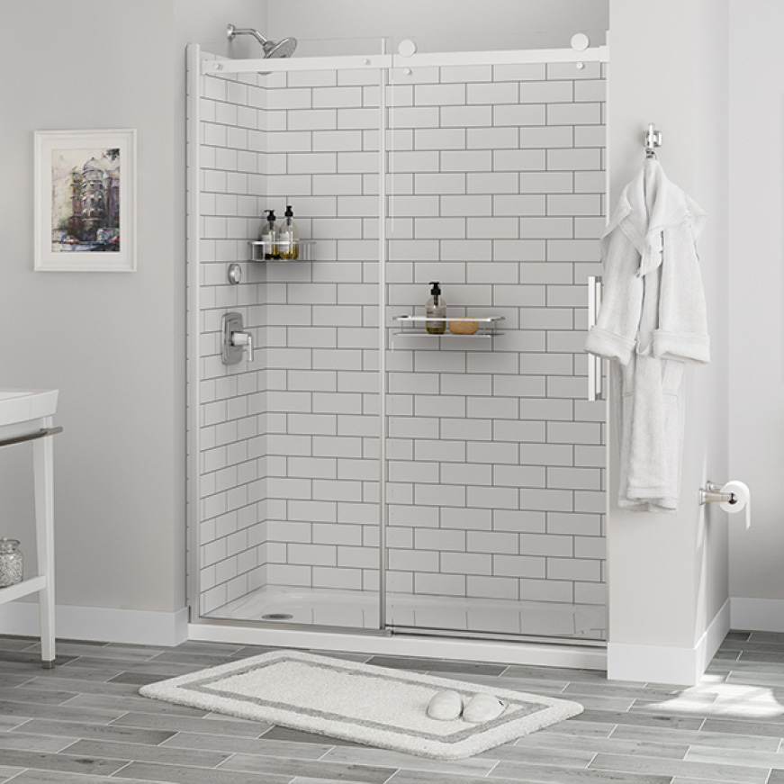 American Standard Passage 32 In X 60 In X 72 In 4 Piece Glue Up Alcove Shower Wall In White Subway Tile