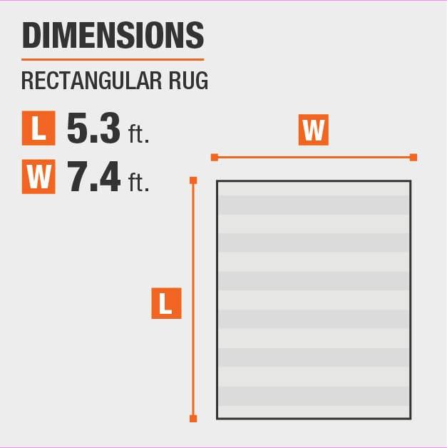 Shoreline Grey/Multi 5 ft. x 7 ft. Striped Area Rug is 5.3 feet by 7.4 feet