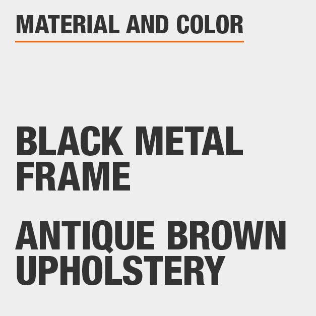 Antique Brown Upholstery Black Metal Frame Upholstered Dining Chair Set