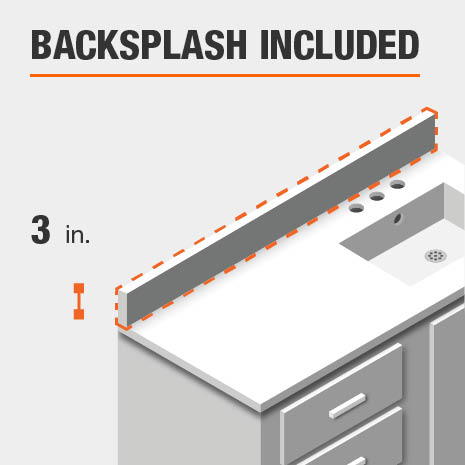 This bathroom vanity includes a backsplash.