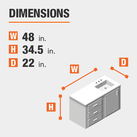 The dimensions of this bathroom vanity are 48.00 in. W x 34.50 in. H x 22.00 in. D