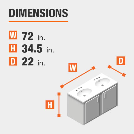 The dimensions of this bathroom vanity are 72.00 in. W x 34.50 in. H x 22.00 in. D