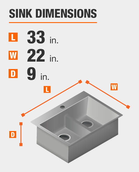 Sink dimensions are 33 inches L; 22 inches W; 9 inches D