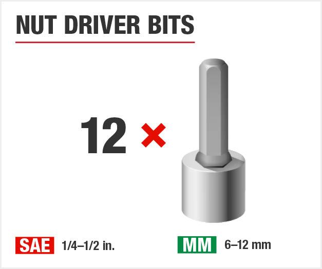 Set includes twelve nut driver bits.