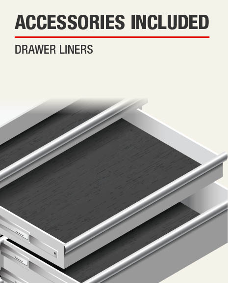 The Accessories Included for this product are Drawer Liners