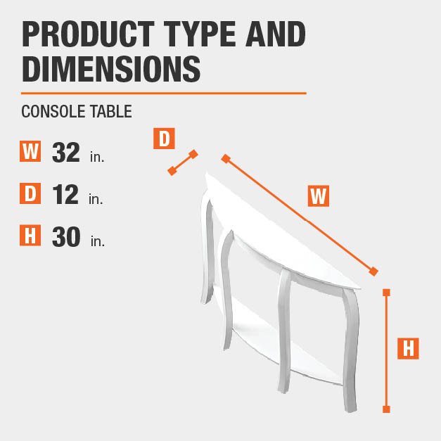 Console Table Product Dimensions 32 inches wide 30 inches high