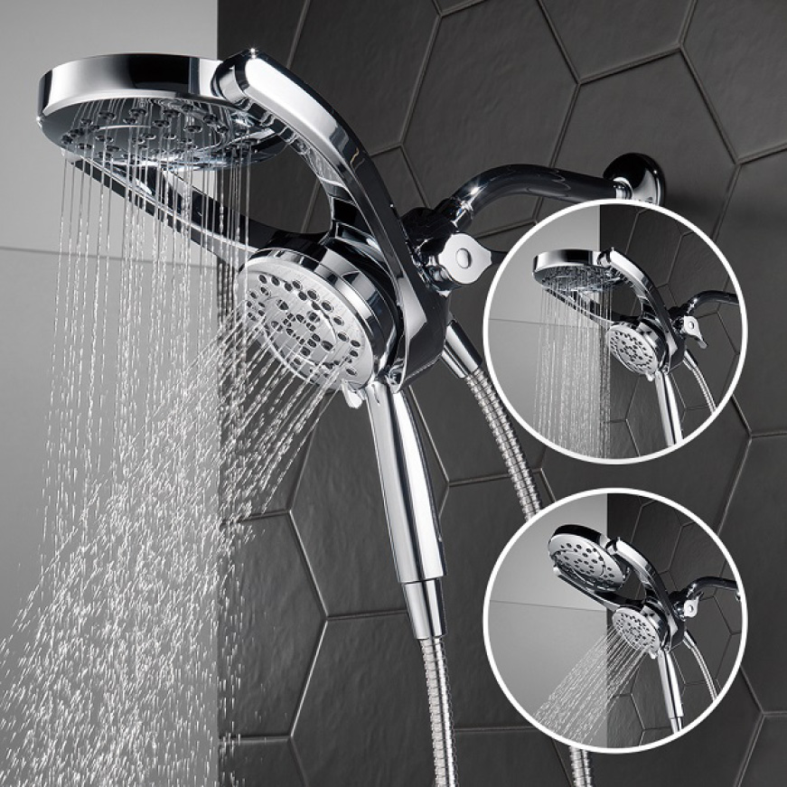 Image is of a showerhead with water on in a tiled shower with two circles of different use cases shown.