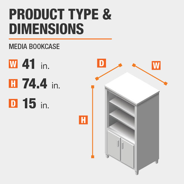 Media Bookcase Product Dimensions 41 inches wide 74.4 inches high