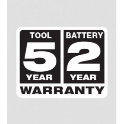 Five year Tool Warranty, Two Year Battery Warranty