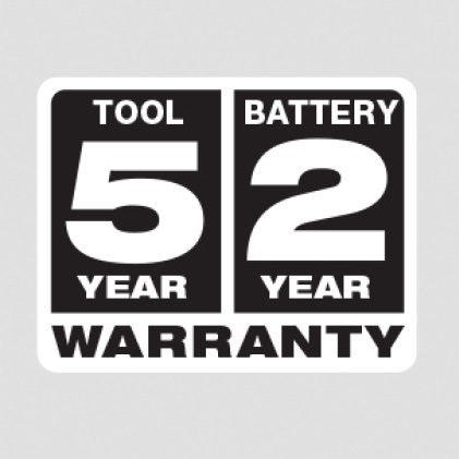 5 year Tool Warranty, 2 Year Battery Warranty