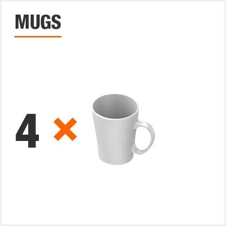 Dinnerware set includes 4 Mugs