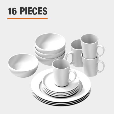 Dinnerware set includes 16 pieces