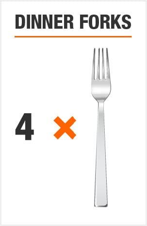 Flatware set includes 8 dinner forks