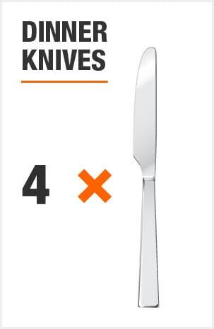 Flatware set includes 8 dinner knives