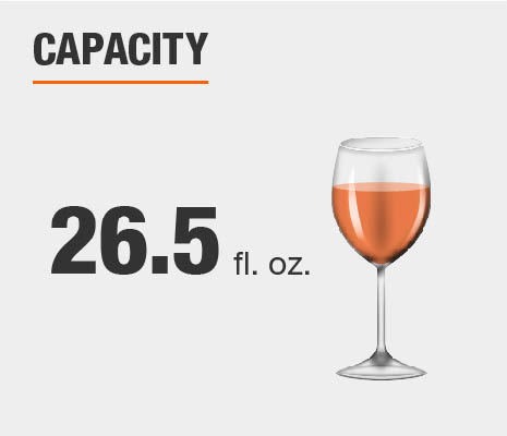 Drinkware set capacity is 26.5 fluid ounces