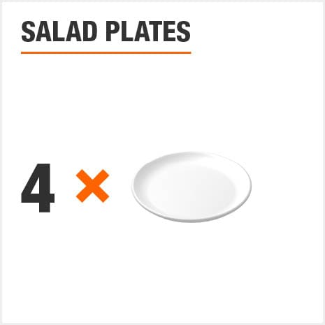 Dinnerware set includes 4 Salad Plates