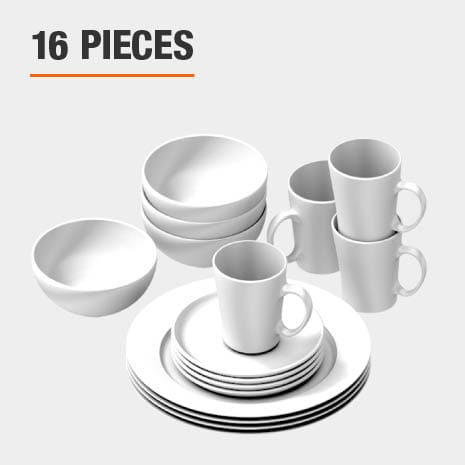Dinnerware set includes 16 pieces
